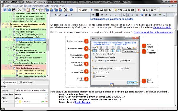 Dr. Explain es un software para hacer archivos de ayuda, guías de usuario, manuales en línea y documentación de aplicaciones